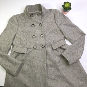 Zara Woman Wool Herringbone Gray Pea Coat Size Med